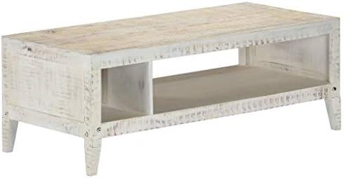Ontwerper Tidyard salontafel | woonkamertafel | praktische salontafel 110 x 50 x 40 cm van massief mangohout wit G6bomOc