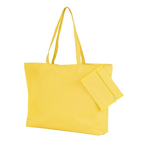 and Attached Ladies Yellow Purse Beach White Tote Polyester eBuyGB Bag qvxdPIwwt