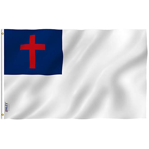 Anley Fly Breeze 3x5 Foot Christian Flag - Vivid Color and UV Fade Resistant - Canvas Header and Double Stitched - Religious Flags Polyester with Brass Grommets 3 X 5 Ft