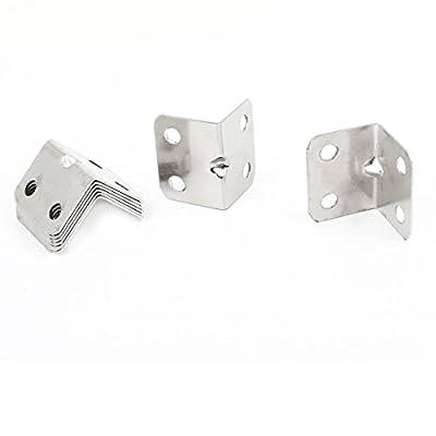 Stainless Steel Corner Braces Angle Brackets Silver Tone 8PCS