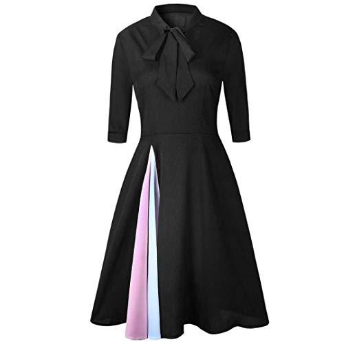 Rodilla la Color VJGOAL de Vestido Negro Media Elegante Retro Vestido Manga Mujeres Ocasionales Elegante Las sólido Noche de Pajarita de hasta 66xwUqT4nv