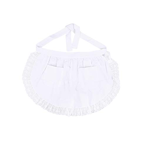 BESTONZON Women's Waist Apron with Pockets Lace Cotton Half Apron Kitchen Party Favors for Maid Waitress Servant(White)