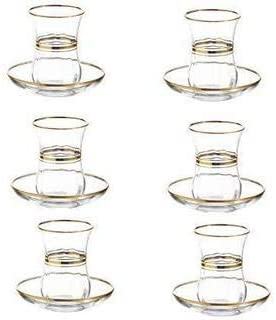 Lav Elegant Turkish Tea Glasses And Saucers With Gold Rim And Accents 4 Ounce Cups With 4 Inch Plates 24 Piece Set Includes 12 Glasses And 12 Saucers Made