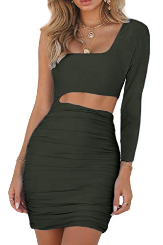 Bodycon Dress Shoulder Women's Mini Cutout Club Green Army Sleeveless Ruched CHYRII One 8808 Sexy 0SgRWnvST