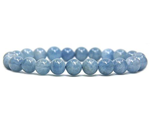 Pink Bead Bracelet - Natural Aquamarine Gemstone 8mm Round Beads Stretch Bracelet 7