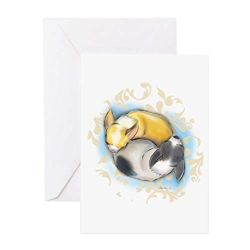 CafePress Sleeping Chihuahuas Bycatiacho Greeting Cards Greeting Card (20-pack), Note Card with Blank Inside, Birthday Card Matte