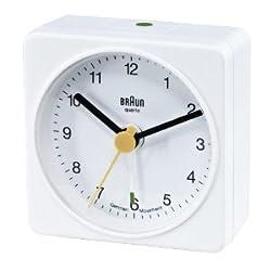 Braun Square Small Travel Alarm Clock, White