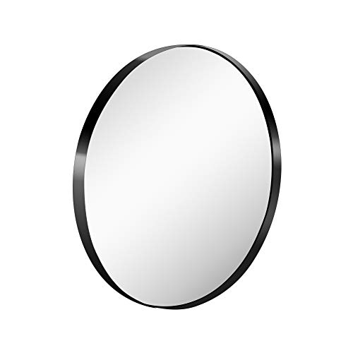 KAASUN 26-Inch Large Wall Mounted Round Mirror Premium Brushed Metal Coated Frame -