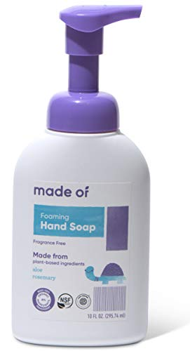 Organic Hand Soap by MADE OF - Dermatologist and Pediatrician Tested - NSF Organic and EWG Verified - for Sensitive Skin and Eczema - Made in USA - 10oz (Fragrance Free, 1-Pack) (Best Hand Soap For Eczema)