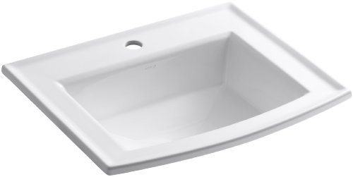 KOHLER K-2356-1-0 Archer Self-Rimming Bathroom Sink with Single-Hole Faucet Drilling, White