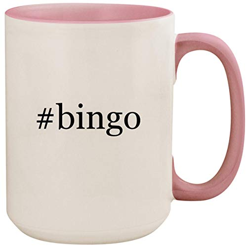 #bingo - 15oz Ceramic Colored Inside and Handle Coffee Mug Cup, Pink by Molandra Products
