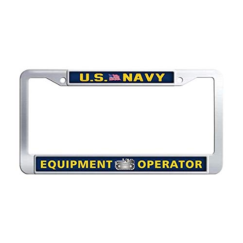 US Navy Equipment Operator License Plate Frame,Stainless Steel Auto License Tag Holder