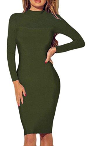 Club through Midi Womens Della Vino Splicing Bodycon Di Vestito Rosso Sexy Domple Maglia See Clubwear qq4tY