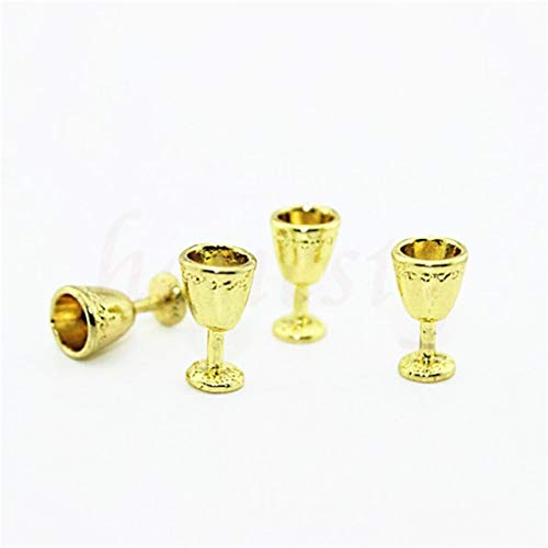 ZAMTAC 1/12 Miniature Scene Model Scale Dollhouse Accessories Mini Beer Cup Mug Kid Fun Toys - (Color: Gold Wine Glass)