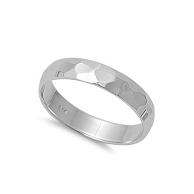 - 4MM Sterling Silver HAMMERED DIAMOND-CUT Design Wedding Band Ring 4-10 (.925 Italian Sterling Silver, 10)