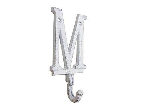 Hampton Nautical Whitewashed Cast Iron Letter M Alphabet Wall Hook 6