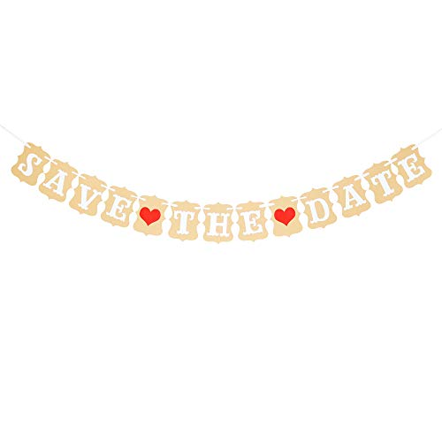 Save The Date Banner Engagement, Wedding Anniversary,Photo Prop Decorations Bunting Banner ()