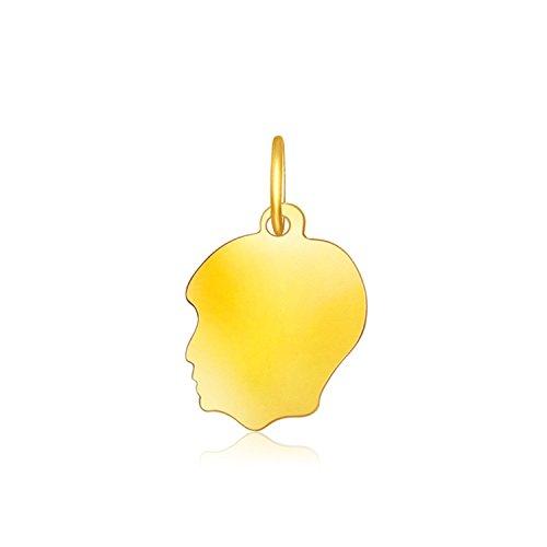 Diamond Boys Head Charm - 14K Yellow Gold Small Boy Head Charm