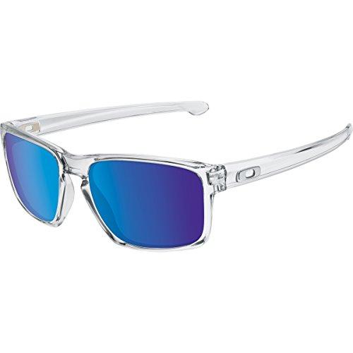 Oakley Men's Sliver Non-Polarized Iridium Rectangular Sunglasses, Polished Clear, 57 mm (Oakley Sonnenbrille Damen Polarisiert)