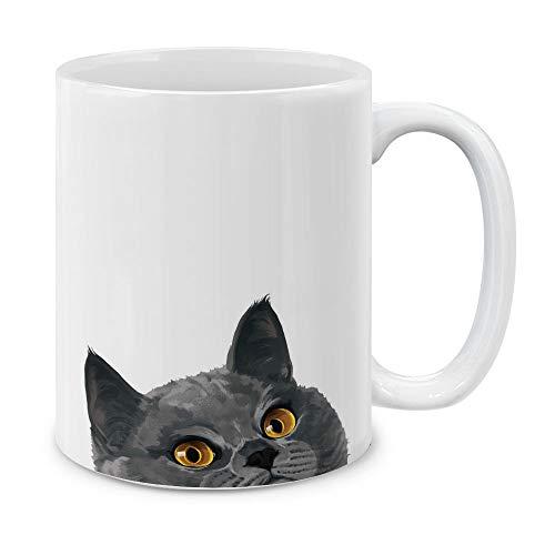- MUGBREW Blue Gray British Shorthair Cat Ceramic Coffee Gift Mug Tea Cup, 11 OZ