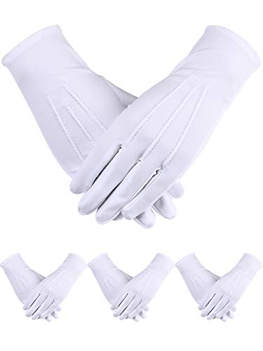 Sumind 4 Pairs Adult Uniform Gloves Spandex Gloves Dress Glove for Police Formal Tuxedo Guard Parade Costume (White D) ()