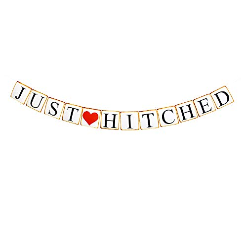 (Just Hitched Banner, Fun Paper Sign Decors for Engagement/Wedding/Bacherolette/Bridal Shower Party)