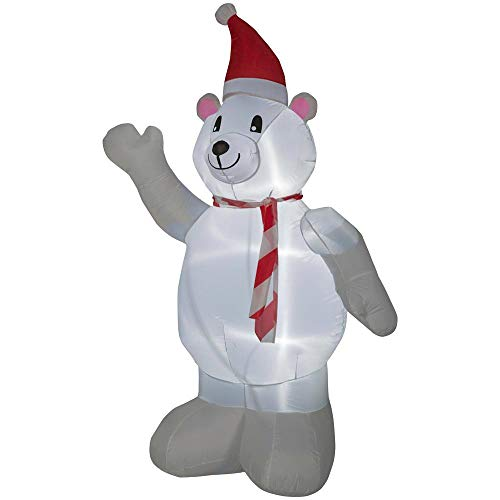 Home Accents 6.50 ft. Pre-lit Inflatable Polar Bear Airblown Christmas Yard Display