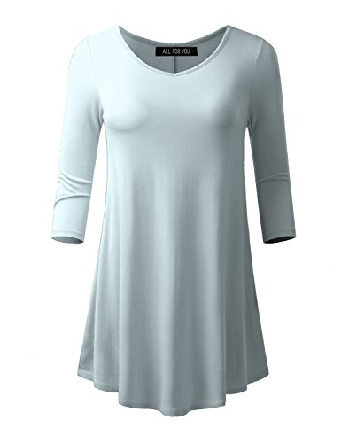 ALL FOR YOU Women's 3/4 Sleeve V-neck Flare Hem Tunic Ice Blue Small