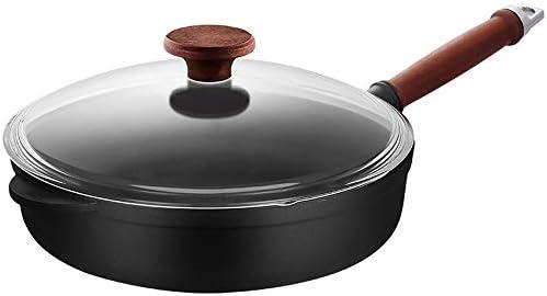 フライパン ノンスティックフライパンフライパンステーキプラズマクッカー誘導調理器、直火ユニバーサル 中華鍋 (Color : Black, Size : 52x28x7cm)