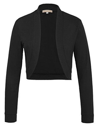 Kate Kasin Open Front Shrug Cardigan Cotton Long Sleeve Stretchy Bolero Black XL