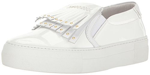 Just Cavalli Women's Patent Lth with Fringe Fashion Sneaker, White, 37 EU/7 M US