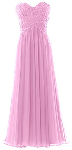 MACloth Women Strapless Prom Dress Lace Chiffon Long Evening Formal Party Gown Rosa