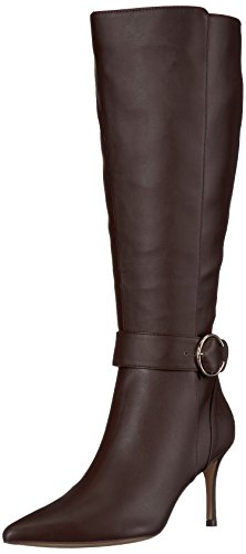 Nine West Women's Moretalknw Synthetic Knee High Boot, Dark Natural Wide Synthetic, 10.5 Medium US by Nine West