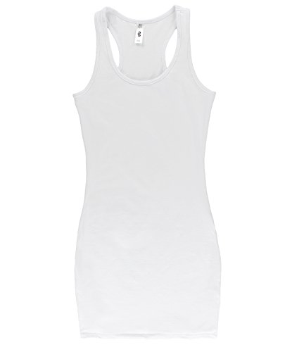 BLBD Women's Basic Extra Long Fitted Tunic Tank Top White Medium (Long Tunic Tank Top Shirt)