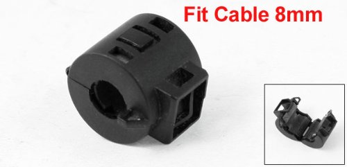 uxcell Black Plastic Casing RFI EMI Interference Filter for 8mm Dia Cable