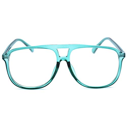 Transparent Colored Aviator Eyeglasses Frame Designer Oversized Clear Sunglasses(Blue) ()
