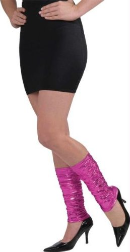 Women's Punk Rock Lame Leg Warmers Pink (80s Fancy Dress Characters)