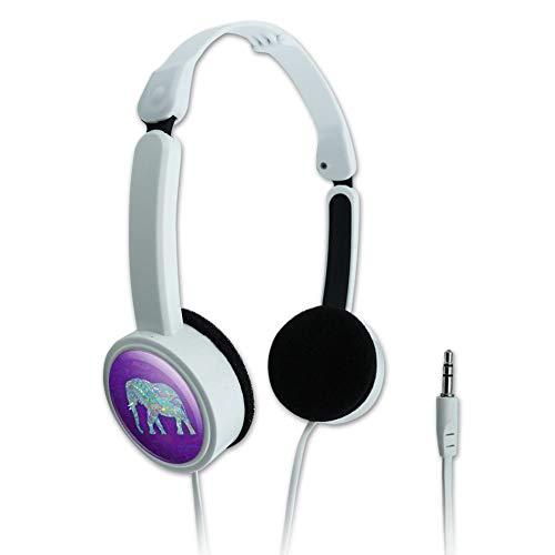 GRAPHICS & MORE Mosaic Elephant Novelty Travel Portable On-Ear Foldable Headphones