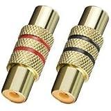 """""""BestPlug"""" 2 Stück RCA Audio Video Adapter Verbindungsstück / Cinch Kupplung Buchse weiblich auf Cinch Kupplung Buchse weiblich / vergoldet Metallausführung"""