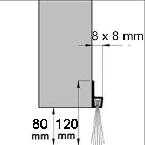 B/ürstendichtung IBE120 PP H/öhe 120 mm Alu silber eloxiert endbehandelt mit PP-B/ürste L/änge 100 cm
