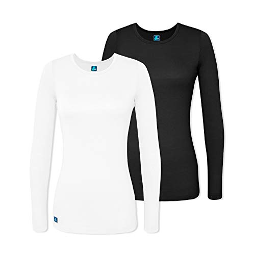 Adar 2 Pack Women's Comfort Long Sleeve T-Shirt/Underscrub Tee - 2902 - Black/White - L