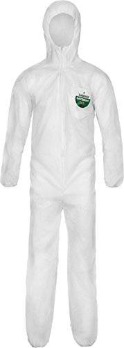 Lakeland SafeGard SMS Polypropylene Coverall with Hood, Disposable, Elastic Cuff, 2X-Large, White (Case of 25)