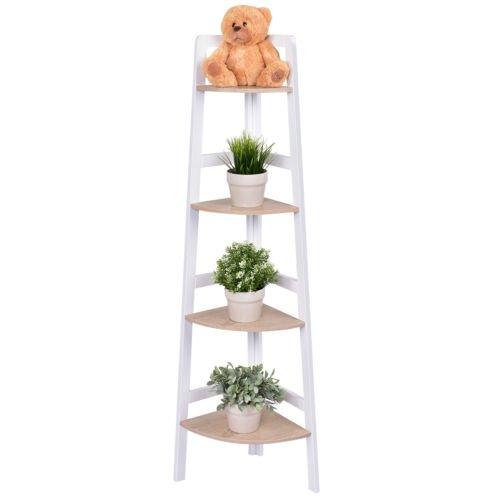 Giantex 4 Tier Wood Corner Shelf Home Furniture Wall Bookshelf Display Stand Ladder Bookcase Shelf