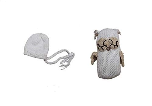 Newborn Baby Girl/Boy Crochet Knit Costume Photography Prop Hats and Outfits (Owl and hat Set White) ()