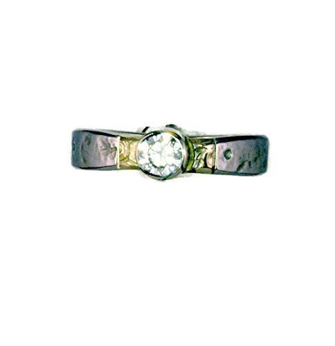 14 K Gold and Palladium Diamond Engagement Ring, Textured and Engraved, Bezel Set 3 mm Brilliant Cut Round Diamond, Ring Size -