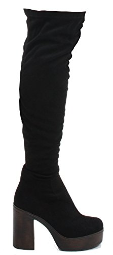 Faux Black THE WOMENS HEEL SIZE BOOTS MID KNEE Style BLOCK THIGH LADIES PARTY OVER 4 HIGH Suede x6HBZwC