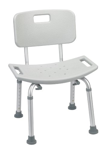 Bathroom Safety Shower Tub Bench Chair with Back, Grey by Drive Medical