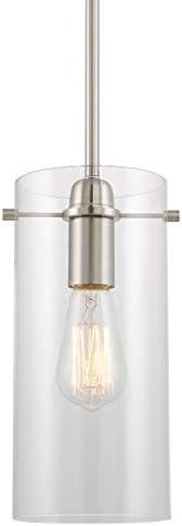 Kira Home Inara 11 Modern Minimalist Pendant Light Clear Glass Cylinder Shade, Adjustable Height, Brushed Nickel Finish
