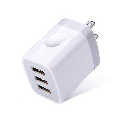 USB Charger Plug, Ououdee 3.1A 3Port Travel USB Phone Charger Power Adapter Charging Block Cube for iPhone X/8/7/6S/6S Plus, iPad, Samsung, HTC, Nexus, Blackberry, ZTE, Motorola, Power Bank and More