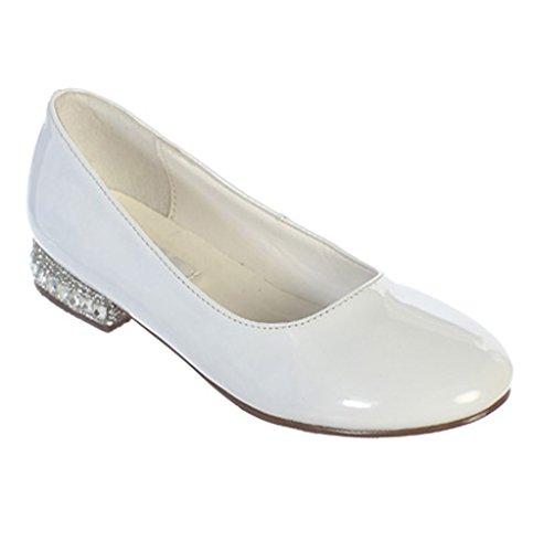 Rhinestone Shoes Flower Flats Ornamented Heel Size Youth5 iGirldress Girls White 9 Ydq1n